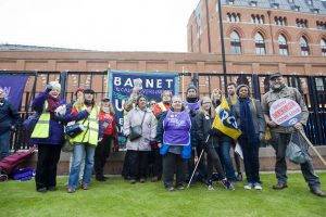 British Library, Kings Cross. March to protest about cuts to libraries, museums and the arts. Barnet Unison were on the march along with striking Barnet library staff. 05/11/16  BP AMS